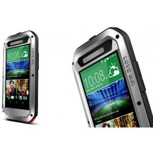 Антиударный пылевлагозащищенный гибридный премиум чехол силикон/металл/закаленное стекло для HTC One E8