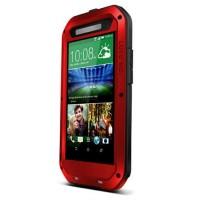 Антиударный пылевлагозащищенный гибридный премиум чехол силикон/металл/закаленное стекло для HTC One E8 Красный
