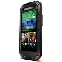 Антиударный пылевлагозащищенный гибридный премиум чехол силикон/металл/закаленное стекло для HTC One E8 Черный