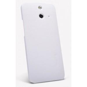 Пластиковый матовый нескользящий премиум чехол для HTC One E8 Белый