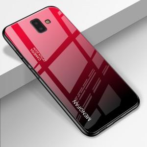 Силиконовый глянцевый градиентный непрозрачный чехол с стеклянной накладкой для Samsung Galaxy J6 Plus