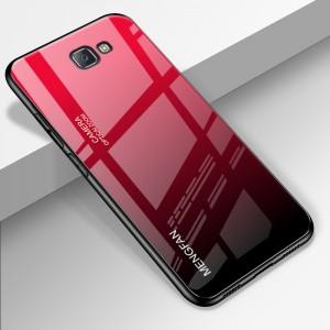 Силиконовый глянцевый градиентный непрозрачный чехол с стеклянной накладкой для Samsung Galaxy J4 Plus