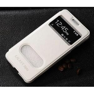 Чехол флип подставка с окном вызова и свайпом и логотипом для Samsung Galaxy Alpha Белый