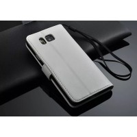 Чехол портмоне подставка с магнитной защелкой для Samsung Galaxy Alpha Белый