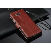 Чехол портмоне подставка с магнитной защелкой для Samsung Galaxy Alpha Коричневый