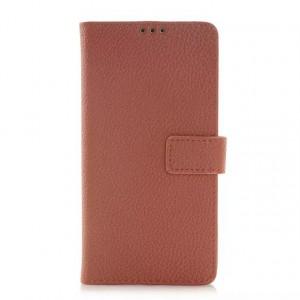 Чехол портмоне подставка с защелкой для Samsung Galaxy Alpha Коричневый