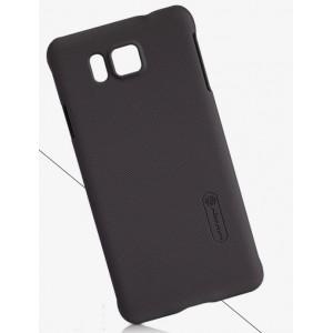 Пластиковый матовый нескользящий премиум чехол для Samsung Galaxy Alpha Коричневый