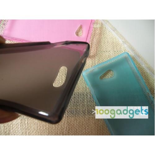 Силиконовый матовый полупрозрачный чехол для Sony Xperia M2 Aqua