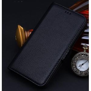 Кожаный чехол портмоне (нат. кожа) для Sony Xperia M2 Aqua Черный