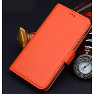Кожаный чехол портмоне (нат. кожа) для Sony Xperia M2 Aqua Оранжевый