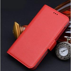 Кожаный чехол портмоне (нат. кожа) для Sony Xperia M2 Aqua Красный