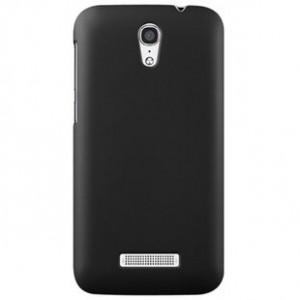 Пластиковый матовый металлик чехол для Alcatel One Touch Pop S7 Черный