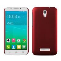 Пластиковый матовый металлик чехол для Alcatel One Touch Pop S7 Красный