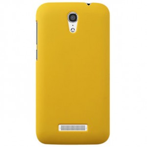 Пластиковый матовый металлик чехол для Alcatel One Touch Pop S7 Желтый