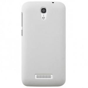 Пластиковый матовый металлик чехол для Alcatel One Touch Pop S7 Белый