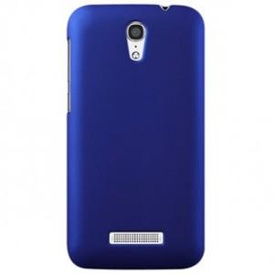 Пластиковый матовый металлик чехол для Alcatel One Touch Pop S7 Синий