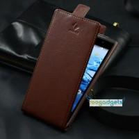 Кожаный чехол вертикальная книжка для Acer Liquid Z500 Коричневый