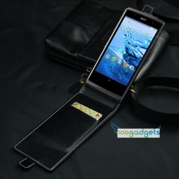 Кожаный чехол вертикальная книжка для Acer Liquid Z500 Черный