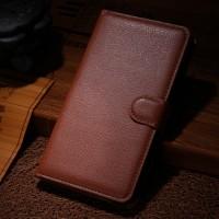 Чехол портмоне подставка для Samsung Galaxy Note Edge Коричневый