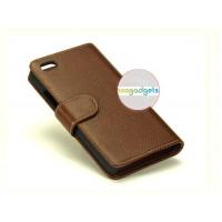 Кожаный чехол портмоне (нат. кожа) с крепежной застежкой на пластиковой основе для Blackberry Z30 Коричневый