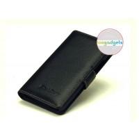 Кожаный чехол портмоне (нат. кожа) с крепежной застежкой на пластиковой основе для Blackberry Z30 Черный