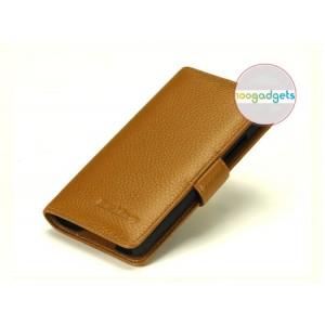 Кожаный чехол портмоне (нат. кожа) с крепежной застежкой на пластиковой основе для Blackberry Z30 Бежевый