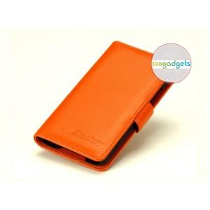 Кожаный чехол портмоне (нат. кожа) с крепежной застежкой на пластиковой основе для Blackberry Z30