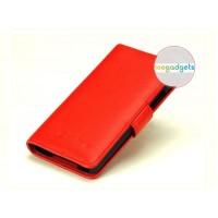 Кожаный чехол портмоне (нат. кожа) с крепежной застежкой на пластиковой основе для Blackberry Z30 Красный