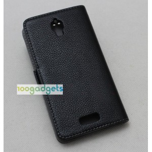 Кожаный чехол портмоне (нат. кожа) с крепежной застежкой на пластиковой основе для Lenovo S660 Черный
