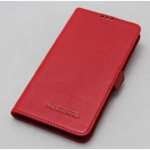 Кожаный чехол портмоне (нат. кожа) с крепежной застежкой на пластиковой основе для Lenovo S660 Красный