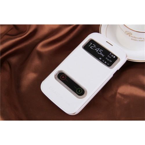 Чехол флип подставка текстурный на пластиковой основе с окном вызова и свайпом для Samsung Galaxy Grand