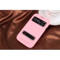 Чехол флип подставка текстурный на пластиковой основе с окном вызова и свайпом для Samsung Galaxy Grand Розовый