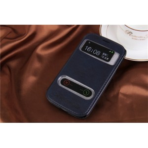 Чехол флип подставка текстурный на пластиковой основе с окном вызова и свайпом для Samsung Galaxy Grand Синий
