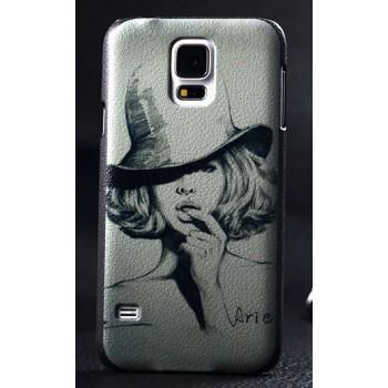 Пластиковый матовый дизайнерский чехол с принтом для Samsung Galaxy S5