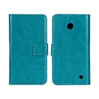 Чехол портмоне подставка (глянцевая кожа) для Nokia Lumia 630 Голубой