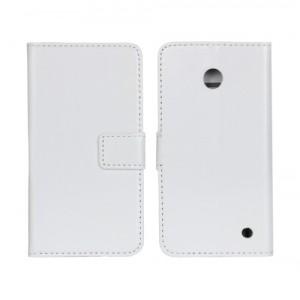 Чехол портмоне подставка (глянцевая кожа) для Nokia Lumia 630 Белый