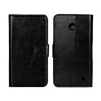 Чехол портмоне подставка (глянцевая кожа) для Nokia Lumia 630 Черный
