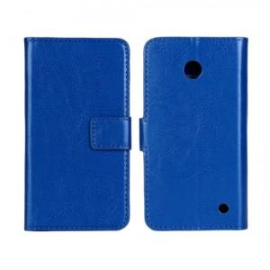 Чехол портмоне подставка (глянцевая кожа) для Nokia Lumia 630 Синий