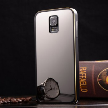 Металлический бампер с поликарбонатной крышкой с зеркальным напылением для Samsung Galaxy S5