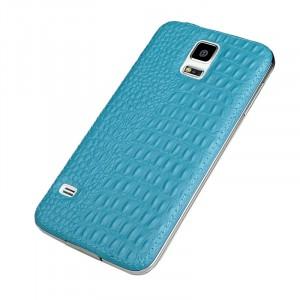 Кожаный встраиваемый чехол накладка (нат. кожа рептилии) серия Back Cover для Samsung Galaxy S5