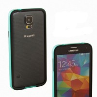Двухкомпонентный антиударный бампер силикон/поликарбонат для Samsung Galaxy S5 (g900fd g900f g900h) Голубой
