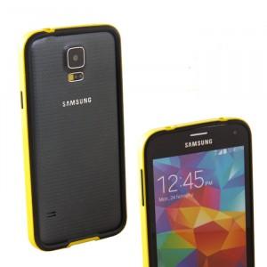 Двухкомпонентный антиударный бампер силикон/поликарбонат для Samsung Galaxy S5 (g900fd g900f g900h) Желтый