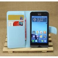 Чехол портмоне подставка на пластиковой основе для ASUS Zenfone 4 (A400CG) Голубой