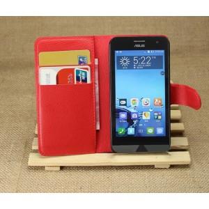 Чехол портмоне подставка на пластиковой основе для ASUS Zenfone 4 (A400CG) Красный