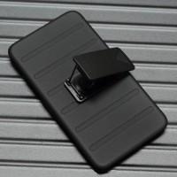 Антиударный чехол с поликарбонатной крышкой и крепежом для Samsung Galaxy Note 4 Черный