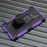 Антиударный чехол с поликарбонатной крышкой и крепежом для Samsung Galaxy Note 4 Фиолетовый