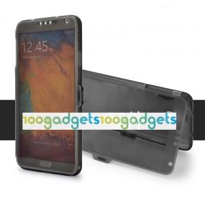 Силиконовый матовый чехол смарт флип с полупрозрачной крышкой для Samsung Galaxy Note 3 Черный