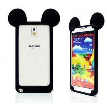 Силиконовый дизайнерский фигурный бампер Микки для Samsung Galaxy Note 3