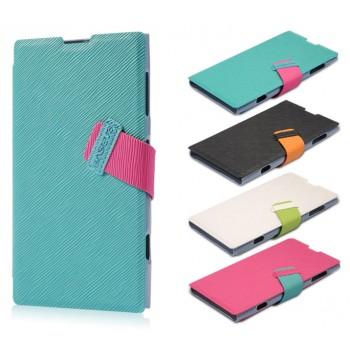 Текстурный чехол флип подставка с застежкой и внутренними карманами для Nokia Lumia 1020