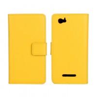 Чехол портмоне подставка с защелкой и внутренней отделкой на пластиковой основе для Sony Xperia M Желтый